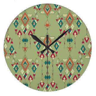 Vintage ethnic tribal aztec ornament large clock