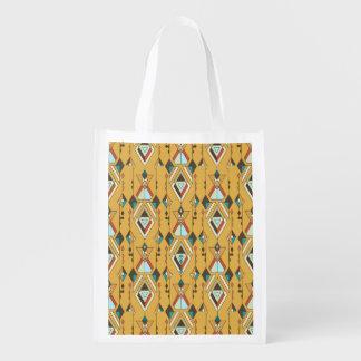 Vintage ethnic tribal aztec ornament reusable grocery bag