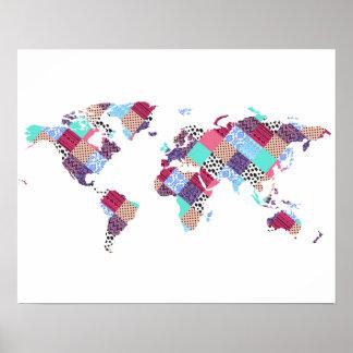 Vintage Ethnic World Map Poster