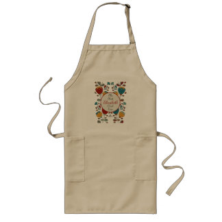 Vintage Ethno Flowers in red, blue and yellow Long Apron