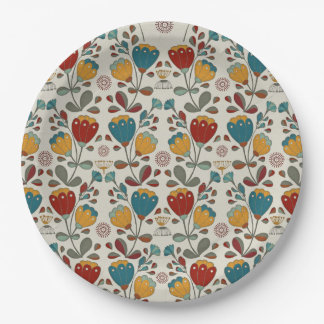 Vintage Ethno Flowers in red, blue and yellow Paper Plate