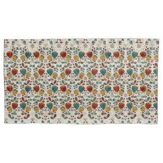 Vintage Ethno Flowers in red, blue and yellow Pillowcase