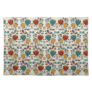 Vintage Ethno Flowers in red, blue and yellow Placemat