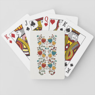 Vintage Ethno Flowers in red, blue and yellow Playing Cards