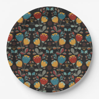 Vintage Ethno Flowers in red, blue, yellow, black Paper Plate
