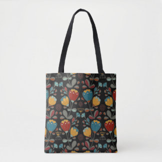 Vintage Ethno Flowers in red, blue, yellow, black Tote Bag
