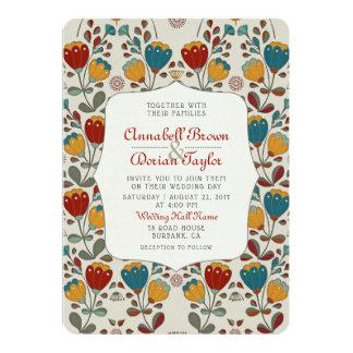 Vintage Ethno Flowers wedding invitation