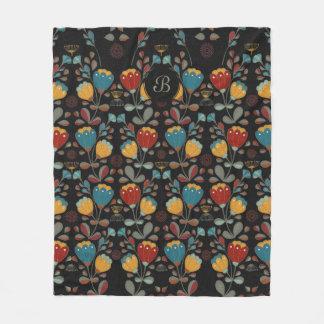 Vintage Ethno Flowers with monogram Fleece Blanket