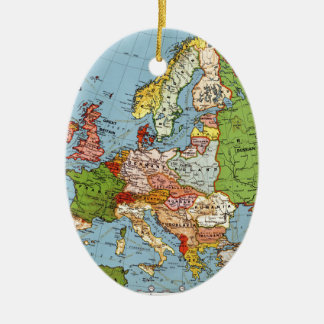 Vintage Europe 20th Century General Map Ceramic Oval Decoration
