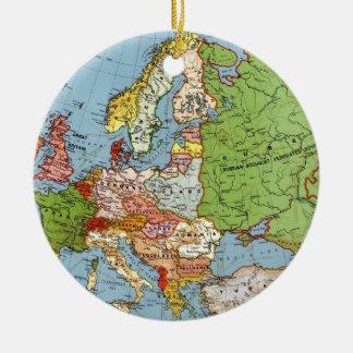 Vintage Europe 20th Century General Map Round Ceramic Decoration