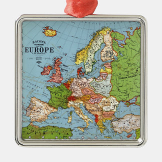 Vintage Europe 20th Century General Map Silver-Colored Square Decoration