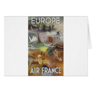 Vintage Europe Air Travel Ad Greeting Card