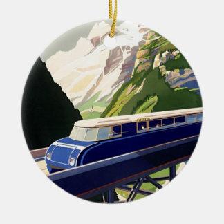 Vintage Europe Rail Travel Ceramic Ornament