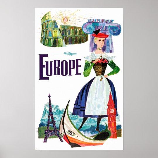 Vintage Europe Travel Paris Venice, Rome, Greece Poster