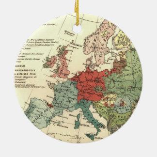Vintage European Map Continent Round Ceramic Decoration