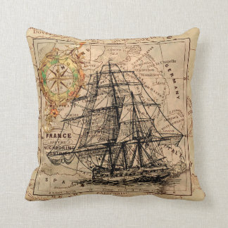VINTAGE EUROPEAN MAP & SHIP CUSHION
