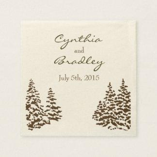 Vintage Evergreen Wedding Napkin Paper Napkins