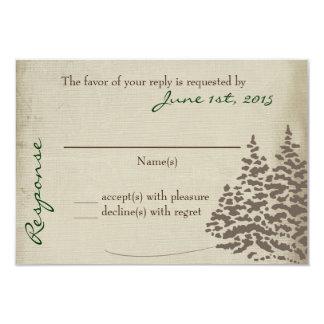 Vintage Evergreen Wedding Response Card with back 9 Cm X 13 Cm Invitation Card