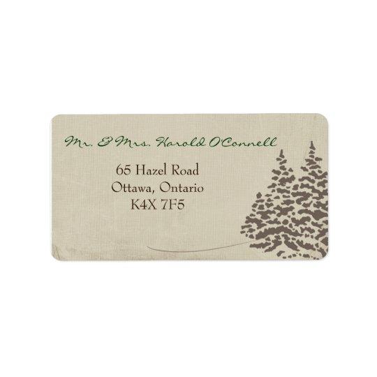 Vintage Evergreen Winter Wedding Address Label