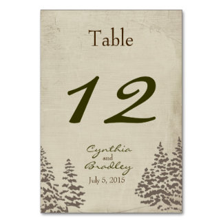 Vintage Evergreen Winter Wedding Table Number