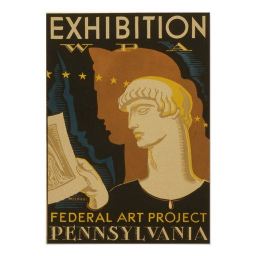Vintage Exhibition WPA Federal Art Project Pennsyl Posters