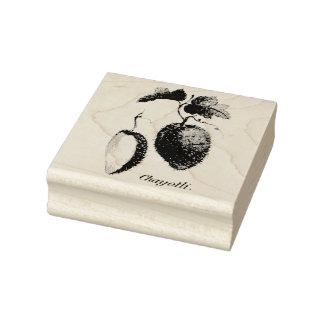 Vintage exotic fruit etching rubber stamp
