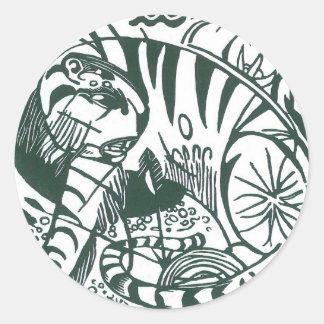 Vintage Expressionism Art, Tiger by Franz Marc Round Sticker