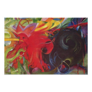 Vintage Expressionism Fighting Forms by Franz Marc Poster