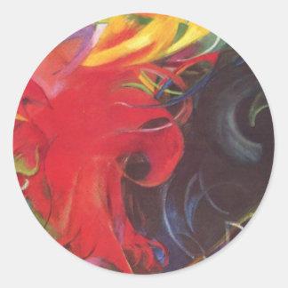 Vintage Expressionism Fighting Forms by Franz Marc Round Sticker