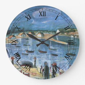 Vintage Expressionism, Hidensee by Walter Gramatte Large Clock