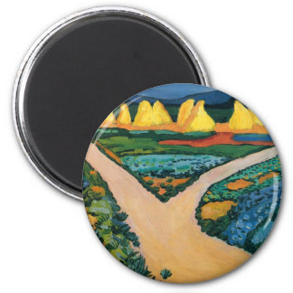 Vintage Expressionism, Vegetable Fields by Macke 6 Cm Round Magnet