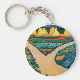Vintage Expressionism, Vegetable Fields by Macke Basic Round Button Key Ring
