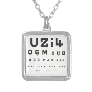 Vintage Eye Chart Silver Plated Necklace