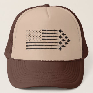 Vintage F-35 Fighter Jet Contrails American Flag Trucker Hat