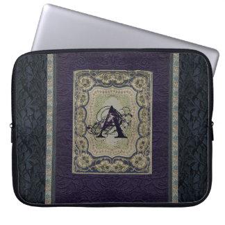 Vintage Fabric Book Design Monogrammed Laptop Computer Sleeves