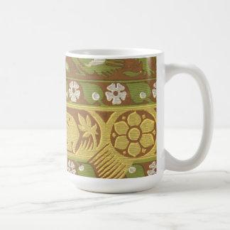 Vintage Fabric - Nature Scene Basic White Mug
