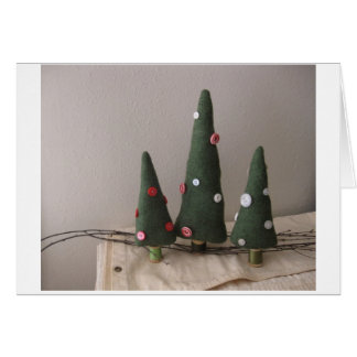 Vintage fabric Pine Trees and old buttons Stationery Note Card