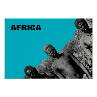 Vintage Faces of Africa Watercolor Black and White Poster