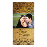 Vintage faded black gold damask save the date customised photo card