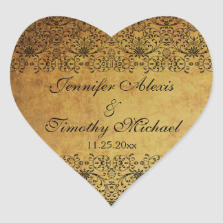 Vintage faded black gold damask wedding stickers