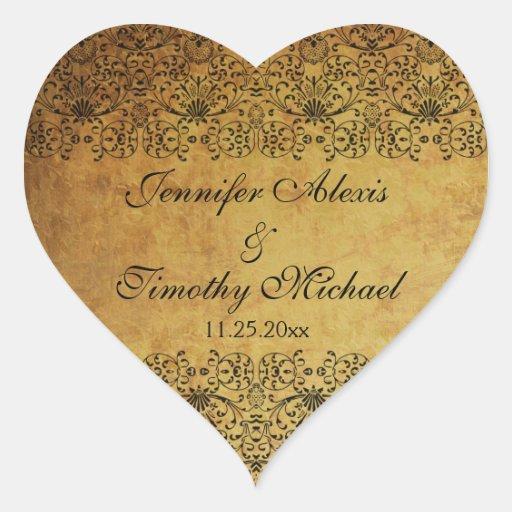Vintage faded black gold damask wedding stickers