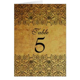 Vintage faded black gold damask wedding table card