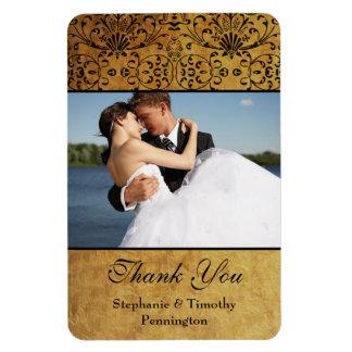 Vintage faded black gold damask wedding thank you vinyl magnets