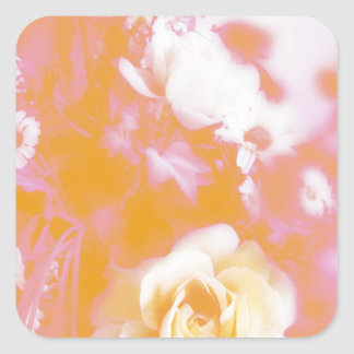 Vintage Faded Floral Arrangement Photography Square Sticker