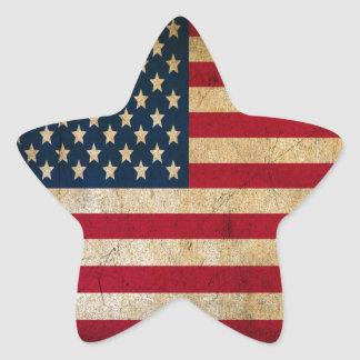 Vintage Faded Old US American Flag Antique Grunge Star Sticker