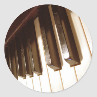 Vintage Faded Piano Keys Round Stickers