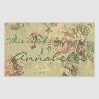 Vintage Faded Roses Personalized Bookplate Rectangular Sticker