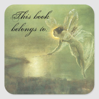Vintage Faerie Book Plate Square Sticker