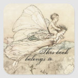 Vintage Faerie Book Plate Square Stickers