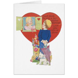 """Vintage """"Fair Weather""""  Valentine Card"""